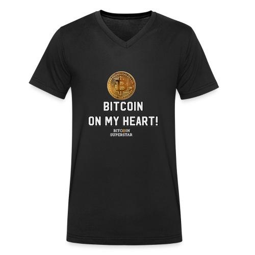 Bitcoin on my heart! - T-shirt ecologica da uomo con scollo a V di Stanley & Stella