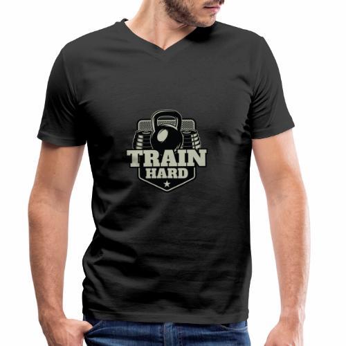 Train Hard - Männer Bio-T-Shirt mit V-Ausschnitt von Stanley & Stella