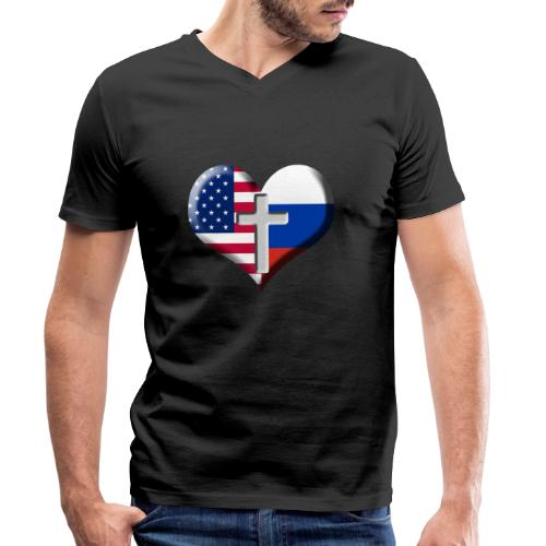 USA and Russia Heart with Cross - Men's Organic V-Neck T-Shirt by Stanley & Stella