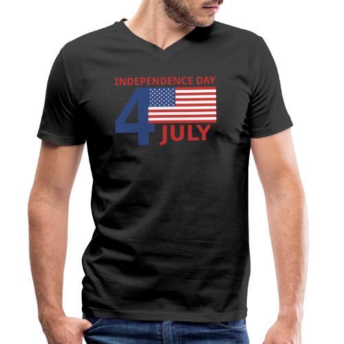 4 luglio giorno della indipendenza - T-shirt ecologica da uomo con scollo a V di Stanley & Stella