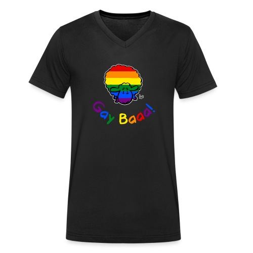 Gay Baaa! Pride Sheep (black edition rainbow text) - Men's Organic V-Neck T-Shirt by Stanley & Stella