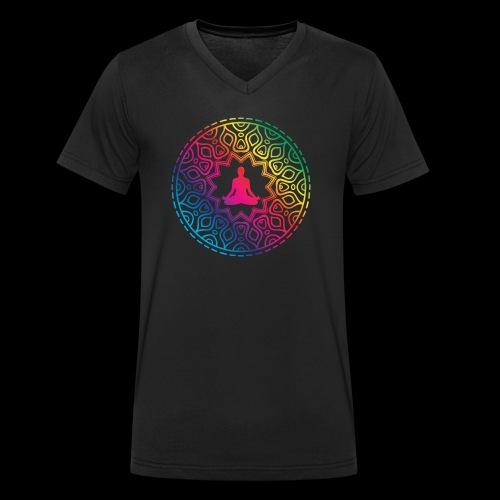 Mindfulness - Meditation design - Ekologiczna koszulka męska z dekoltem w serek Stanley & Stella