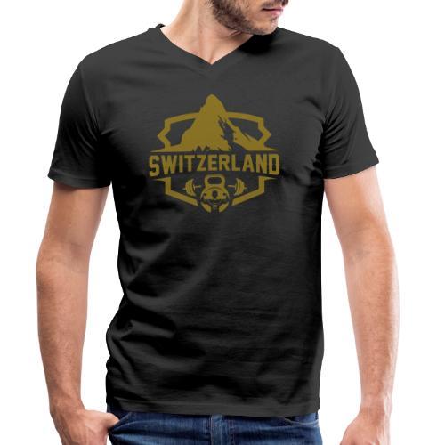 Swiss Mountain _ Gold Edtion - Männer Bio-T-Shirt mit V-Ausschnitt von Stanley & Stella