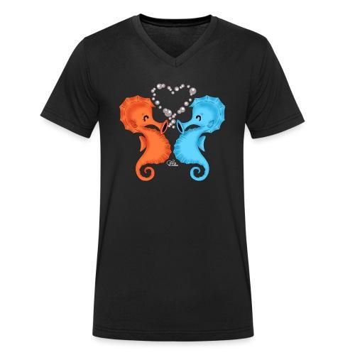 Seepferdchenliebe - Männer Bio-T-Shirt mit V-Ausschnitt von Stanley & Stella