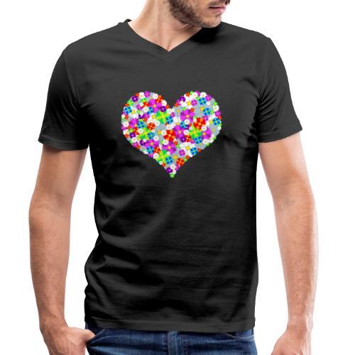 Blumenherz - Männer Bio-T-Shirt mit V-Ausschnitt von Stanley & Stella