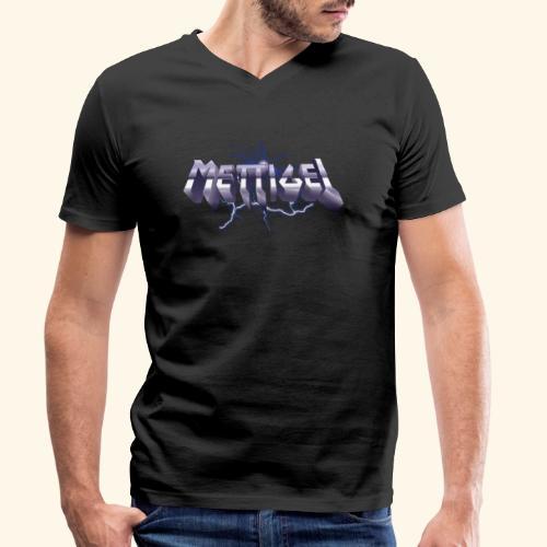 Mettigel T Shirt Design Heavy Metal Schriftzug - Männer Bio-T-Shirt mit V-Ausschnitt von Stanley & Stella