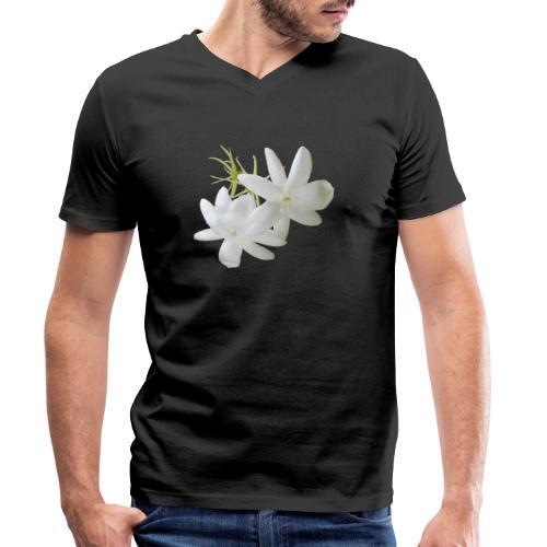 Jasmin weiss Blüte Strauch Duft Pflanze - Männer Bio-T-Shirt mit V-Ausschnitt von Stanley & Stella