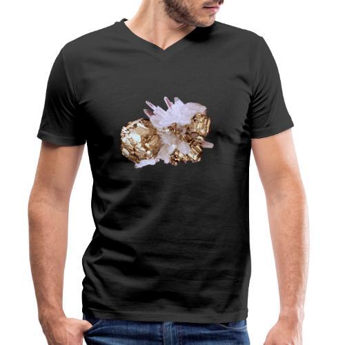Pyrit Quarz Mineral Kristall Katzengold - Männer Bio-T-Shirt mit V-Ausschnitt von Stanley & Stella