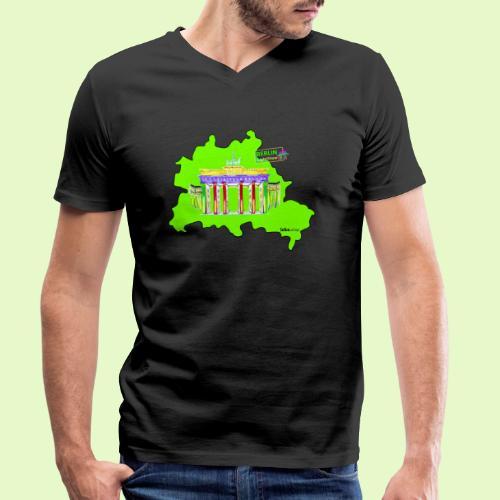 Berlin ist grün und bunt / BerlinLightShow - Männer Bio-T-Shirt mit V-Ausschnitt von Stanley & Stella