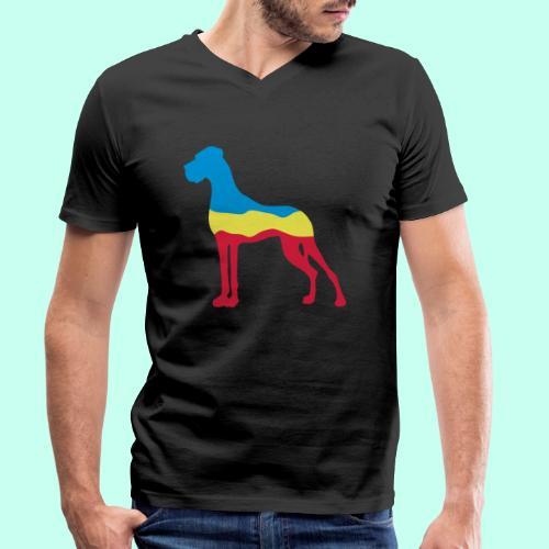 Flaggen Dogge - Männer Bio-T-Shirt mit V-Ausschnitt von Stanley & Stella