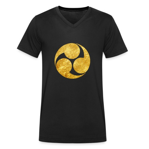 Kobayakawa Mon Japanese clan gold on black - Men's Organic V-Neck T-Shirt by Stanley & Stella