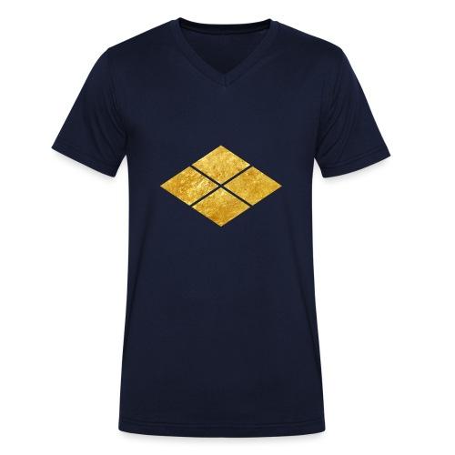 Takeda kamon Japanese samurai clan faux gold - Men's Organic V-Neck T-Shirt by Stanley & Stella
