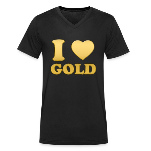 i love gold glanz b - Männer Bio-T-Shirt mit V-Ausschnitt von Stanley & Stella