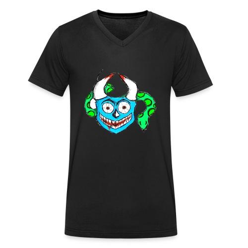 Verrückte Maske Blau - Männer Bio-T-Shirt mit V-Ausschnitt von Stanley & Stella