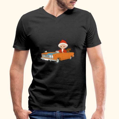 Sandmann fährt Auto - Männer Bio-T-Shirt mit V-Ausschnitt von Stanley & Stella