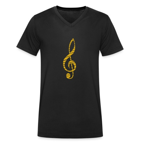 Goldenes Musik Schlüssel Symbol Chopped Up - Men's Organic V-Neck T-Shirt by Stanley & Stella