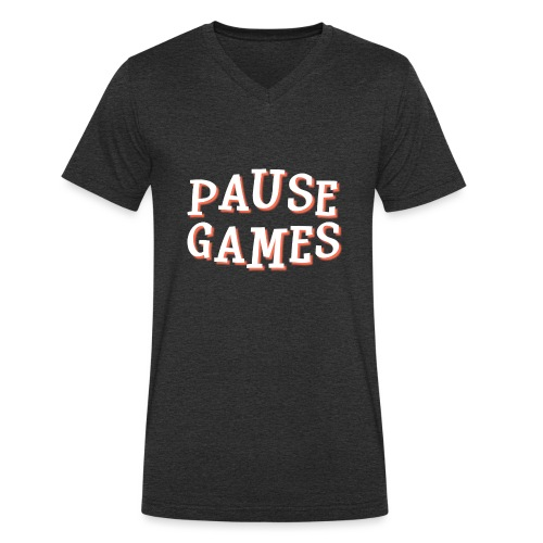 Pause Games Text - Men's Organic V-Neck T-Shirt by Stanley & Stella