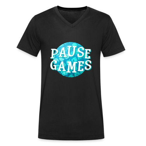Pause Games New Design Blue - Men's Organic V-Neck T-Shirt by Stanley & Stella
