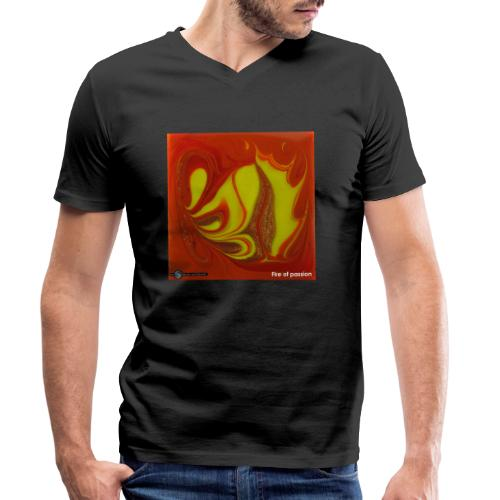 TIAN GREEN Mosaik DK011 - Fire of passion - Männer Bio-T-Shirt mit V-Ausschnitt von Stanley & Stella