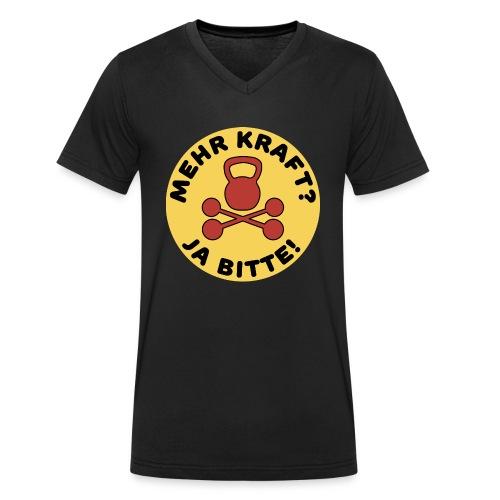 Mehr Kraft? Ja Bitte! Gewichtheber/Fitness Design - Männer Bio-T-Shirt mit V-Ausschnitt von Stanley & Stella