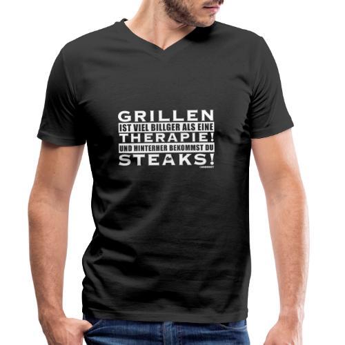 Grillen - Therapie - Steaks - Männer Bio-T-Shirt mit V-Ausschnitt von Stanley & Stella