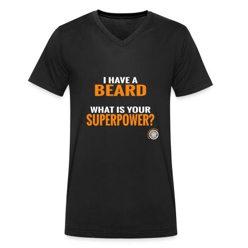 Beard Superpower - Mannen bio T-shirt met V-hals van Stanley & Stella