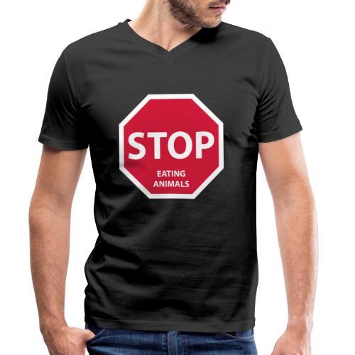 Stop-Eating-Animals - Männer Bio-T-Shirt mit V-Ausschnitt von Stanley & Stella