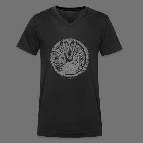 Maschinentelegraph (szary oldstyle) - Ekologiczna koszulka męska z dekoltem w serek Stanley & Stella