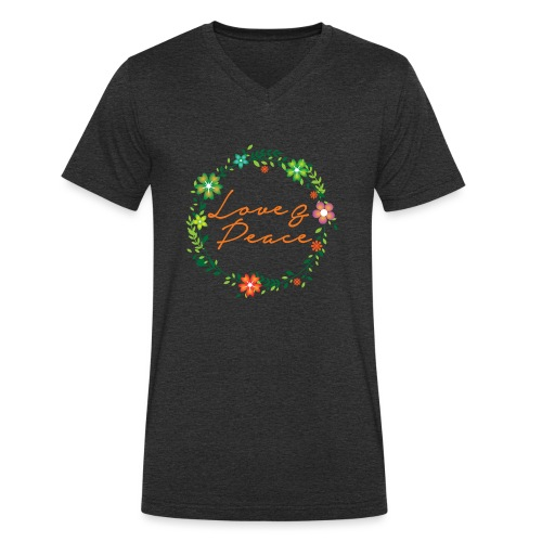 Love and Peace - Men's Organic V-Neck T-Shirt by Stanley & Stella