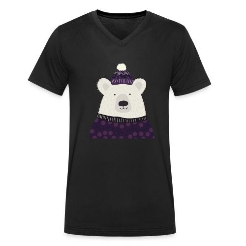Eisbär Winter - Männer Bio-T-Shirt mit V-Ausschnitt von Stanley & Stella