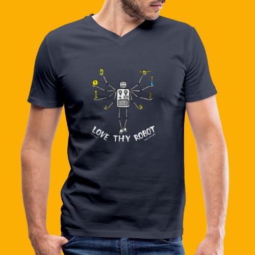 Dat Robot: Love Thy Robot Shiva Dark - Mannen bio T-shirt met V-hals van Stanley & Stella