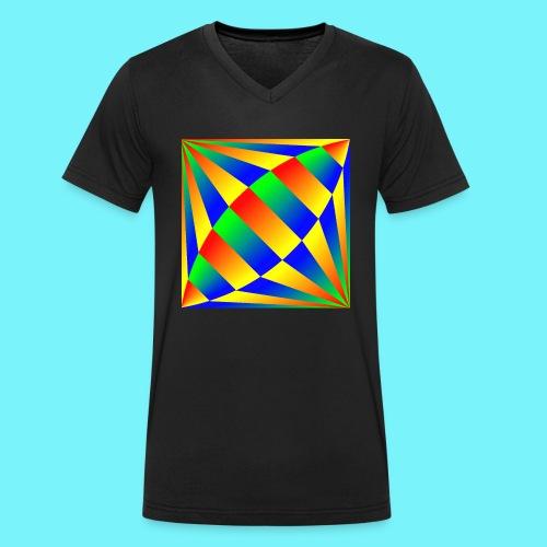 Giant cufflink design in blue, green, red, yellow. - Men's Organic V-Neck T-Shirt by Stanley & Stella