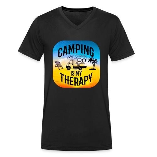 camping is my therapy - Männer Bio-T-Shirt mit V-Ausschnitt von Stanley & Stella