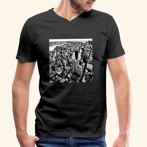 Manhattan in bianco e nero - T-shirt ecologica da uomo con scollo a V di Stanley & Stella