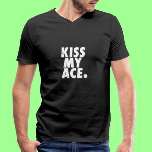 KISS MY ACE - Ekologiczna koszulka męska z dekoltem w serek Stanley & Stella