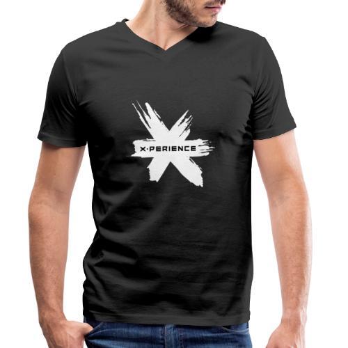 x-perience Logo weiß - Männer Bio-T-Shirt mit V-Ausschnitt von Stanley & Stella