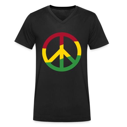Peacezeichen Rastafari Reggae Musik Frieden Pace - Men's Organic V-Neck T-Shirt by Stanley & Stella