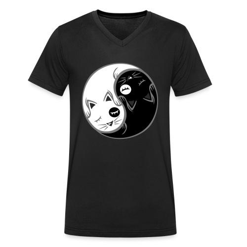 Yin Yang katze flex - Männer Bio-T-Shirt mit V-Ausschnitt von Stanley & Stella