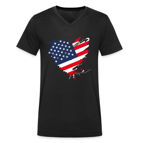 USA Amerika Sterne und Streifen Herz Grunge Flagge - Men's Organic V-Neck T-Shirt by Stanley & Stella