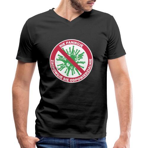 nie panikuje corona-virus - Ekologiczna koszulka męska z dekoltem w serek Stanley & Stella