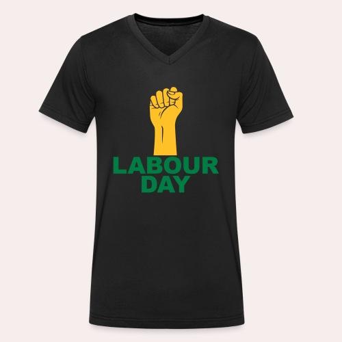 Día del trabajo / Puño en alto - Camiseta ecológica hombre con cuello de pico de Stanley & Stella