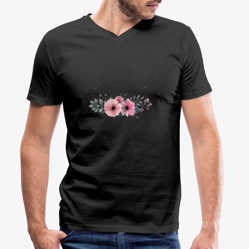 rosas - Camiseta ecológica hombre con cuello de pico de Stanley & Stella