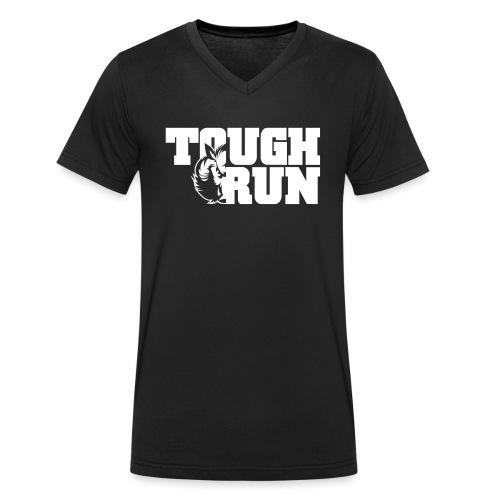 TOUGRUN Logo weiß - Männer Bio-T-Shirt mit V-Ausschnitt von Stanley & Stella