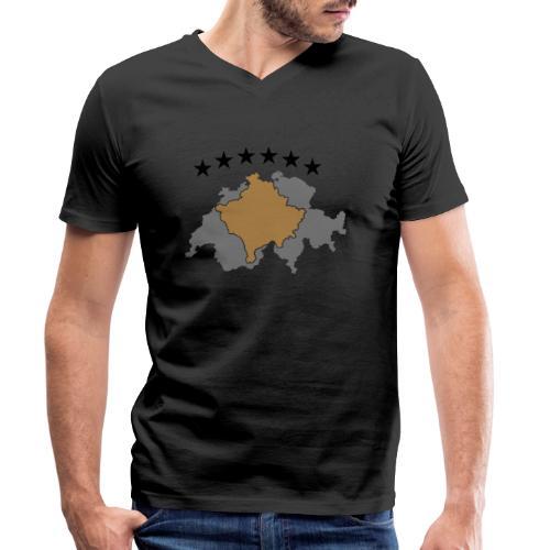 Kosovo Schweiz - Männer Bio-T-Shirt mit V-Ausschnitt von Stanley & Stella