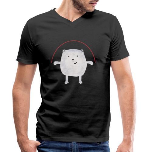 Jumping Monsta by #OneCreativeArts - Männer Bio-T-Shirt mit V-Ausschnitt von Stanley & Stella