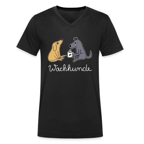 Wachhund trinkt Kaffee Koffein weckt müde Hunde - Männer Bio-T-Shirt mit V-Ausschnitt von Stanley & Stella
