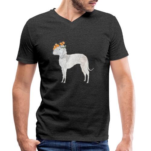 bedlington with flower - Økologisk Stanley & Stella T-shirt med V-udskæring til herrer