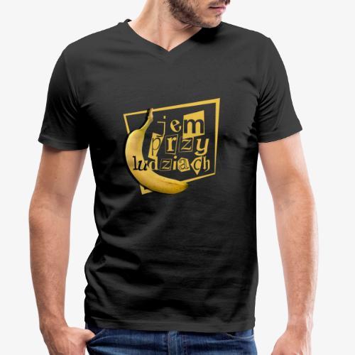 Jem przy ludziach - Ekologiczna koszulka męska z dekoltem w serek Stanley & Stella
