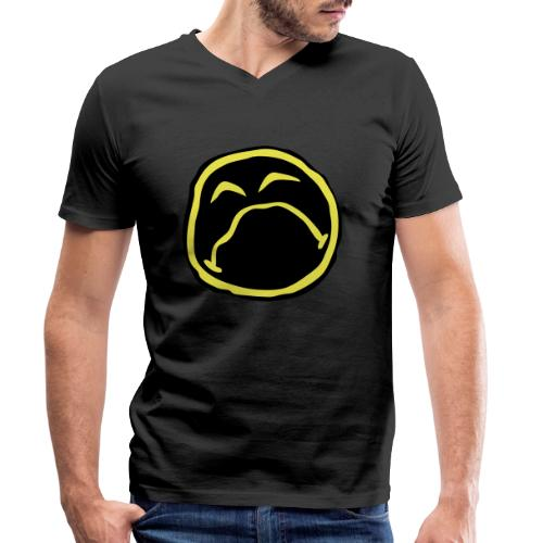 Droef Emoticon - Mannen bio T-shirt met V-hals van Stanley & Stella