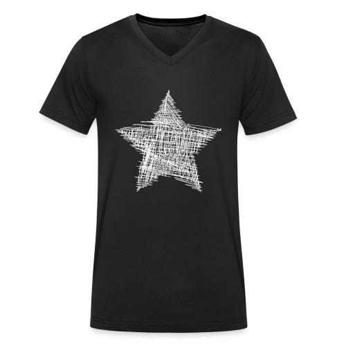 Estrella blanca - Camiseta ecológica hombre con cuello de pico de Stanley & Stella